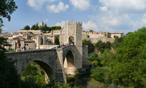 The fortified town of Besalu at county La Garrotxa